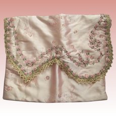 Pink Lingerie Bag With Silk Rose Ribbon Trim