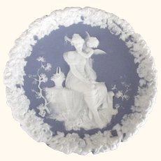 Jasperware Plate With Cupid and Lady With Floral Edge