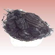 Civil War Mourning Bonnet With Horsehair, beading and Flowers