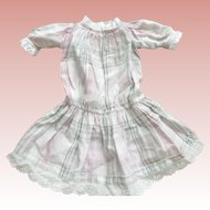 Cotton Pastel  Plaid Dress With Eyelet Trim For Doll