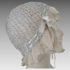 Pale Blue Lace Trimmed Night Cap With Blue Ribbon