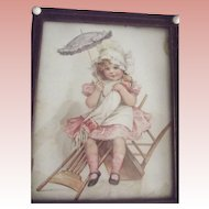 Frances Brundage Print, Victorian Child In Pink Dress With Doll and Umbrella