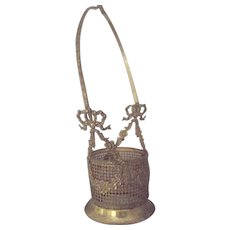 Ormulu Basket For Glass Container Swag and Ribbon DEsign