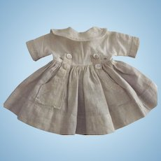 Small  Doll Dress With Large Collar and Fancy Pockets