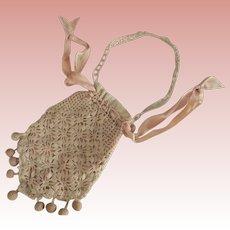 Victorian/Edwardian Crocheted Drawstring Purse