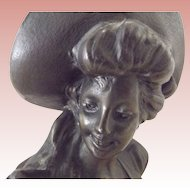 Victorian/Edwardian Bronze Small Bust of a Woman