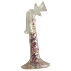 Vintage Plastic Candlestick Telephone Candy Container, Original Candy