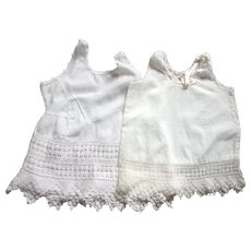 Two 1940's Slips For Pudgy Baby Dolls, Crocheted Bottoms