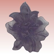 Pair of Sheer Black  Flowers With Sequins
