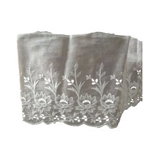 White Eyelet FAbric With Embroidered Flowers