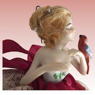 Pincushion Doll Feeding Parrot Arms Away, Original Wig