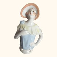 Art Deco Lady Pincushion Doll With Hat Soft Pastel Colors