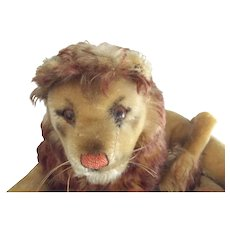 Steiff Lion With Button, Has Repair - Red Tag Sale Item