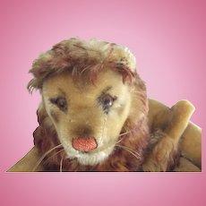 Steiff Lion With Button, Has Repair