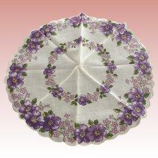 Pair of Floral Round  Handkerchiefs