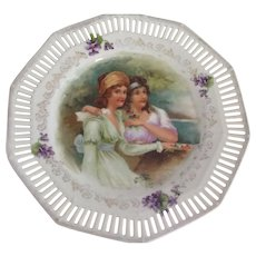 Porcelain Plare With Pierced Edge, Violets and Two Women In Empire Waist Dresses - Red Tag Sale Item