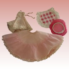 Doll Shower Cap, Plastic Apron, Crinoline and Shirley Temple Slip