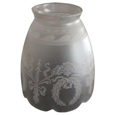 Art Nouveau Etched Shade With Fancy Swags
