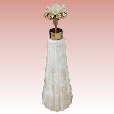 Irice Perfume Atomizer Milk Glass With Flower and Rhinestones