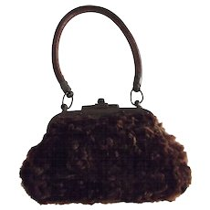 Doll Purse,Made of Fur With  Leather Strap
