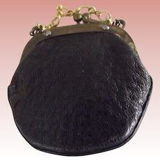 Black Leather Doll Purse