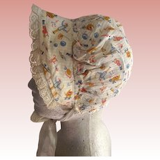 Vintage Child or Large Doll Bonnet With Circus Figures