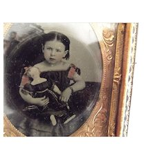 Civil War  Tinted Tintype Child With Doll In Case