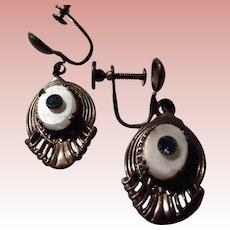 Brass Screw Back Earrings With Blue Rhinestone and White Rhinestone