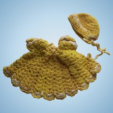 Yellow Crocheted Dress and Bonnet For All Bisque Doll