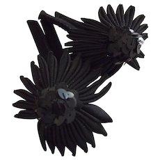 Pair of Black Hat Trims, Sequins, Faille and Felt