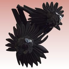 Pair of Black Hat Trims, Sequins, Faille and Felt