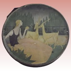 Art Deco  Tin With Girl and Gazelles