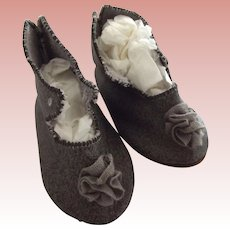 Grey Leather Doll Shoes