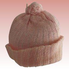 Pink Knit Doll Hat