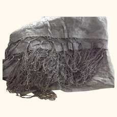 Early Large Black Shawl With Floral Pattern and Fringe