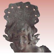 French hArt Nouveau Bronze Lady Statue
