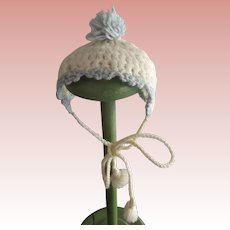 Blue and White Knit Doll Hat