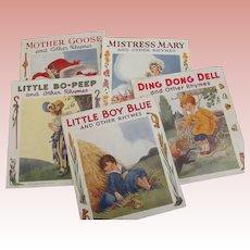 Set of Six Nursery Rhyme Linnenette Books
