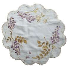 Doily With Embroidered Wisteria