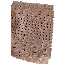 Pink Runner With Cut Work and Embroidery
