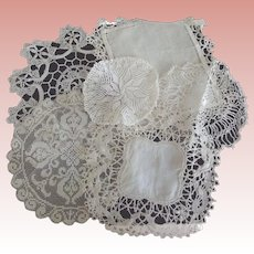Lacy Small  Doilies With Tatting, Open Work, Embroidery