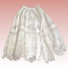 Victorian/Edwardian Petticoat or Skirt For Repair or Reuse With Embroidered Roses
