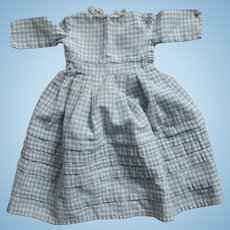 Blue and White Checked Doll Dress