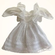 White Doll Dress With Tucks, Lace and Ruffles