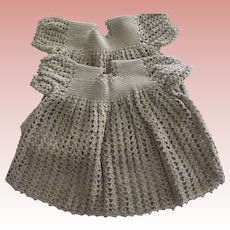 Twin Taupe Crocheted Dresses For Baby Dolls