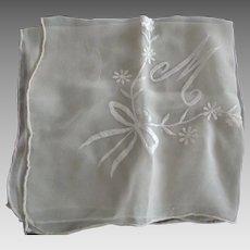 "Chiffon Wedding Handkerchief With Letter ""M"""