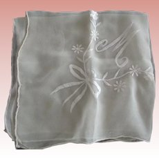 "Chiffon Wedding Handkerchief With Letter ""M"""