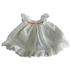 Doll Pinafore With Tiny Pocket and Eyelet Trim