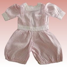 Pink and White Gingham Jumpsuit For A Boy Doll