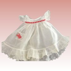 Pinafore With Red Ribbon Trim and Tiny Pocket